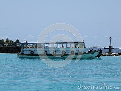 Boat on the sea out of Velana International Airport Maldives Islands.