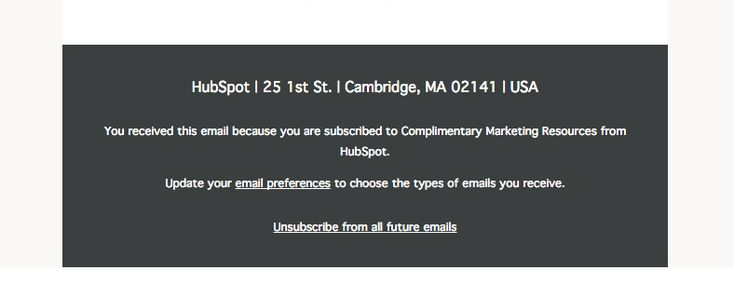 HubSpot's footer is a great example of how HTML background colors can be used to distinguish the footer from the rest of an email. Find more on email footer design here http://emaildesign.beefree.io/2016/01/best-practices-email-footer-design/