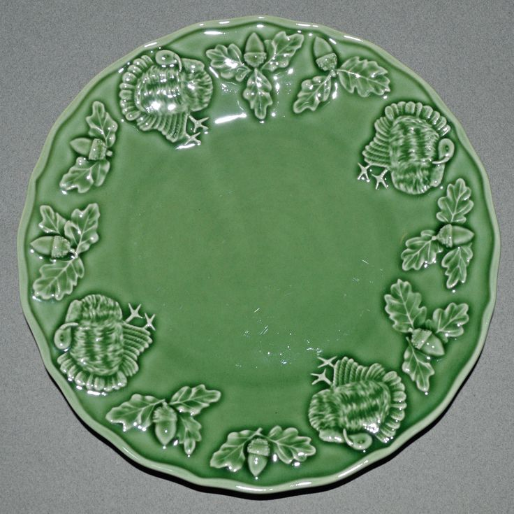 Details about thanksgiving green turkey majolica dessert - Bordallo pinheiro portugal ...