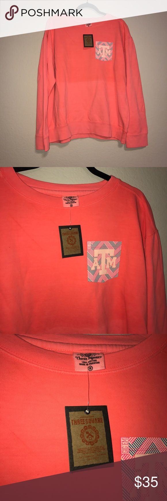 Texas A&M Neon Orange Pullover Sweat Shirt Nwt. Medium Sweaters