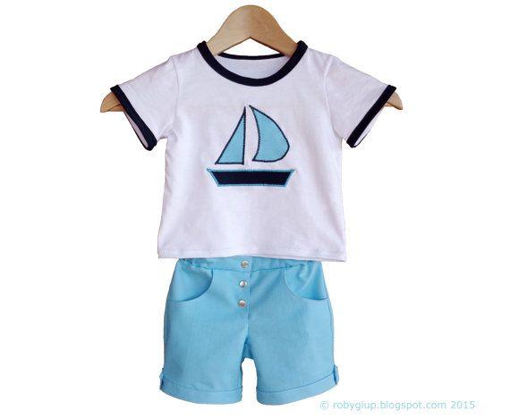 Completo marinaio bambino per l'estate taglia 12 mesi: shorts in denim azzurri e maglietta con applicazione a barca - by RobyGiup