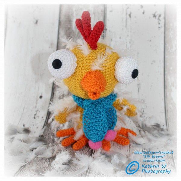 Hallo!  Mein Name ist Gundula Glubsch – das gerupfte Huhn Ich gehöre zur Familie Glubsch, die mit den großen weißen runden Augen! Für mich kann übrig gebliebenes Garn in jeder Farbe verwendet werden, so dass Sie mich nach Ihren eigenen Farbwünsc