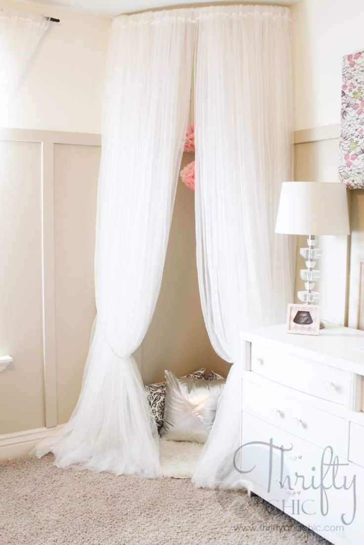 Unique curtain hanging ideas - Whimsical Canopy Tent Or Reading Nook Made From Curved Curtain Rod And Ikea Curtains Good Idea For A Kid Bedroom