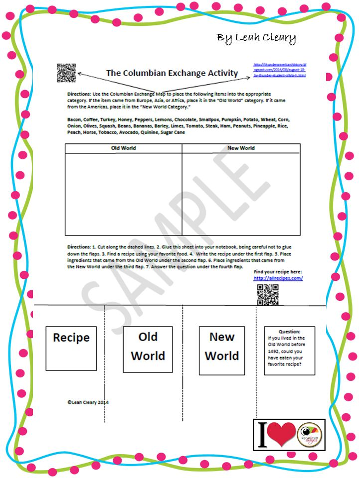 Columbian Exchange Worksheet | The old, World and The o'jays