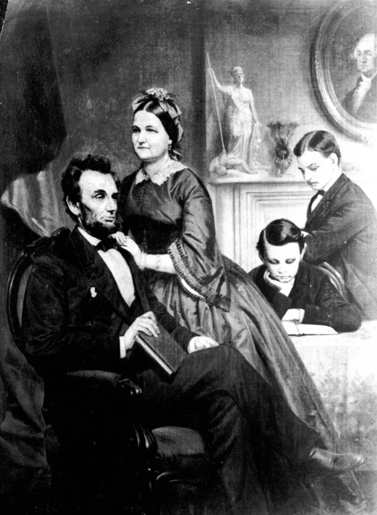 This artwork of President Abraham Lincoln, his wife, and two sons, Robert and Tad, was found in a family album belonging to Mrs. James Gaines of Philadelphia. Because it shows the entire Lincoln family, it is considered quite rare. Its owner is a descendant of William Wallace, who was married to one of Mary Todd's sisters.