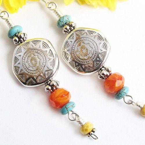 Sun Earrings, Silver Resin with Turquoise, Orange Yellow Czech Glass by Pretty Gonzo on ArtFire