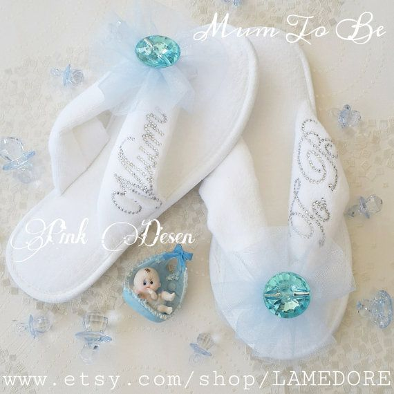 Mum to be flipflops Baby shower Velour flip flop by LAMEDORE