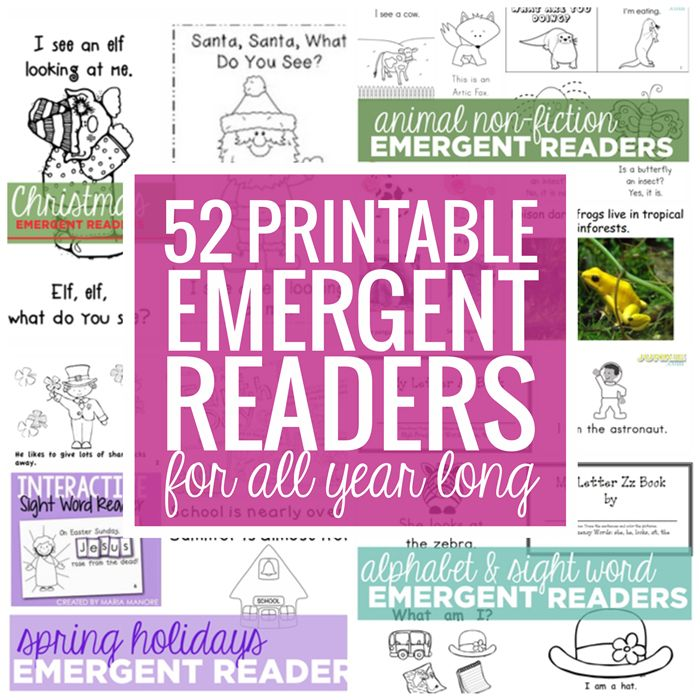 Emergent readers play a big role in learning how to read. These 52 emergent readers are all free and all teacher-created! There are Holiday emergent readers, alphabet and sight words,