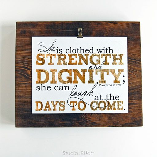 Proverbs 31, Scripture Art, Clothed With Strength and Dignity, 8x10 Print StudioJRU art from The MOB Society collection #proverbs31 #scripture #faith #family #wallhanging #gift