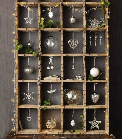 Holiday christmas wooden display box with hand mad…