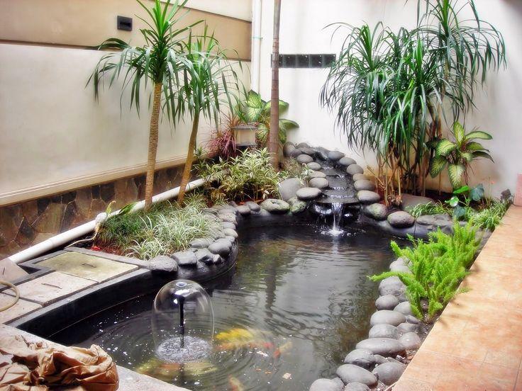 Kolam koi fish pond garden pinterest koi for Koi pond hiding places