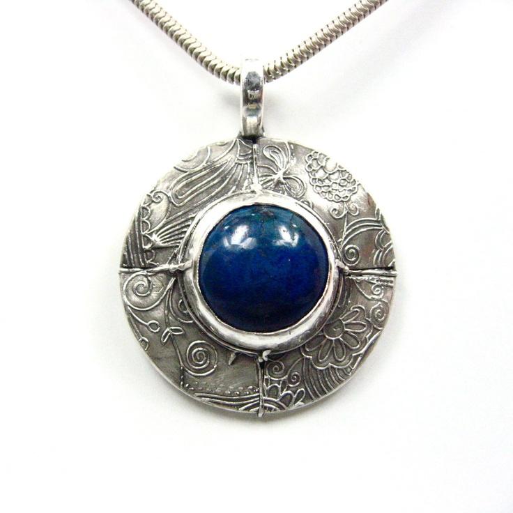 Round silver pendant lapis yay etsy jewelry pinterest