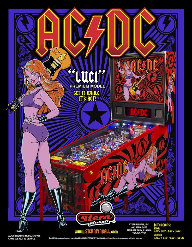 #AC/DC (LUCI Premium) Flyer - Front, #stern #pinball