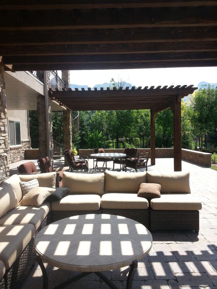 Outdoor living, Utah living, Pavers in Utah, Pergolas, wood structures, Utah patios, Fire pits and pools