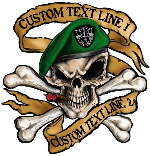 Army Skull Beret Green beret skull customizable