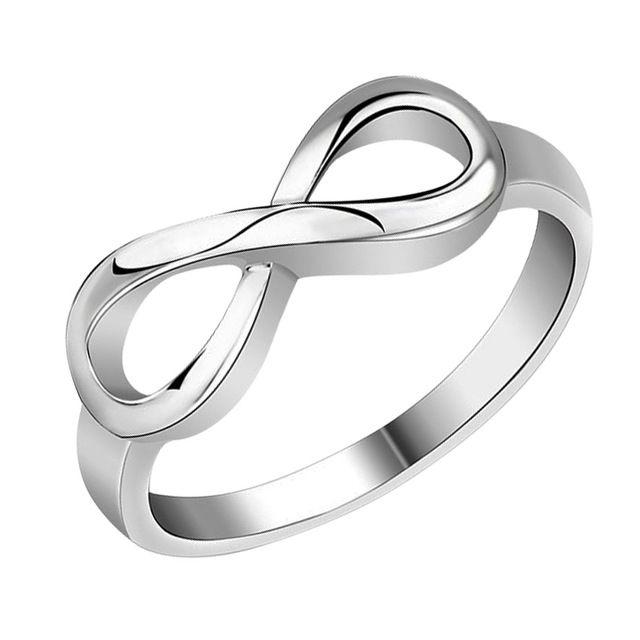 Новые Моды женская Любовь Ювелирные Изделия Посеребренная Сердце Любви Бесконечность Кольца для Женщин Свадьба Обручальное Кольцо Бесконечность