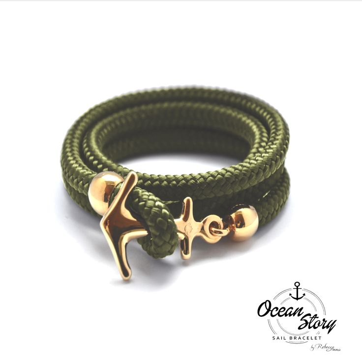 #Ocean Story Shimmering green, light-flooded seagrass meadows below the water surface give this bracelet a special fresh and unusual, but light shade. The refined knotted nautical rope is three times around the wrist and secured by its anchor as a closure. Detachment, and swung around the neck, it can be worn as a necklace. #Sail #Anchor #Bracelet #Anker #Segeln #Juwelery #Schmuck #yacht #Segeltau #maritime #Jewlry