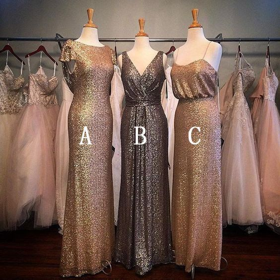 Charming Popular Sequin Mismatched Long Wedding Bridesmaid Dresses, WG – LoverBridal