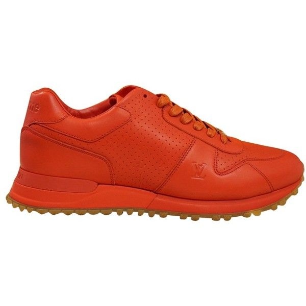 Pre-owned Louis Vuitton X Supreme Sneakers (6,395 ILS) ❤ liked on Polyvore featuring shoes, sneakers, red, louis vuitton sneakers, red trainers, red sneakers, louis vuitton and pre owned shoes
