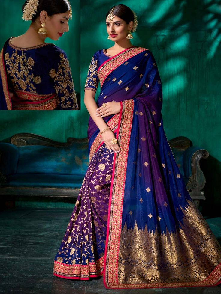 Admirable navy blue and purple pure viscose saree with worked patch border is giving fashionable flash to it. Celebrate your moments with this fascinating outfit.