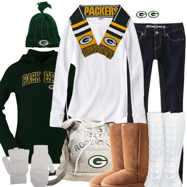 Green Bay Packers Winter Fashion - just switch out the Uggs for boots that will actually keep your feet warm and dry. And add a parka...
