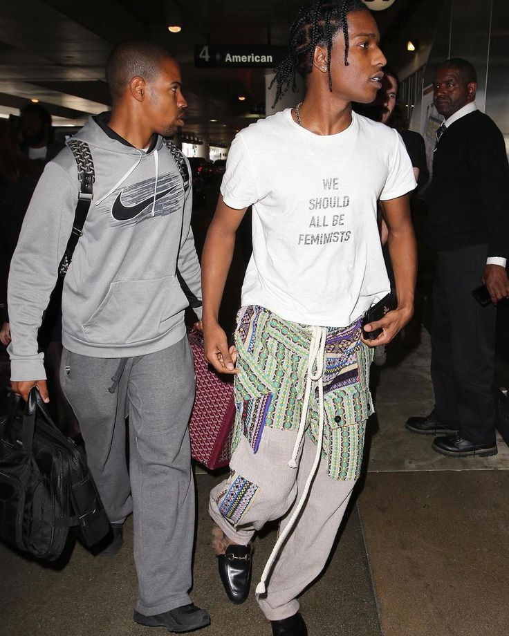 ASAP Rocky Arrives at LAX Wearing Dior T-Shirt, Loewe Pants and Gucci Slippers | UpscaleHype