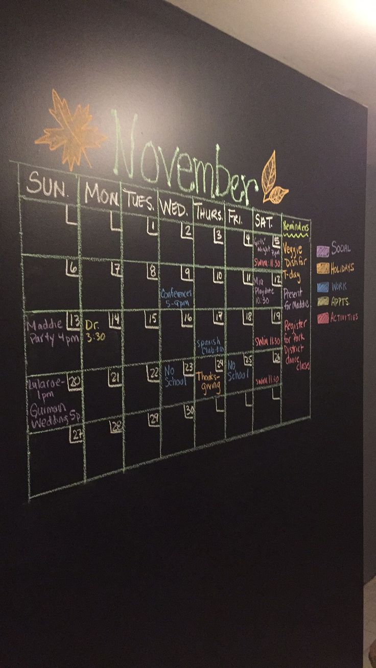 Chalkboard paint on wall in Mudroom. Family calendar!