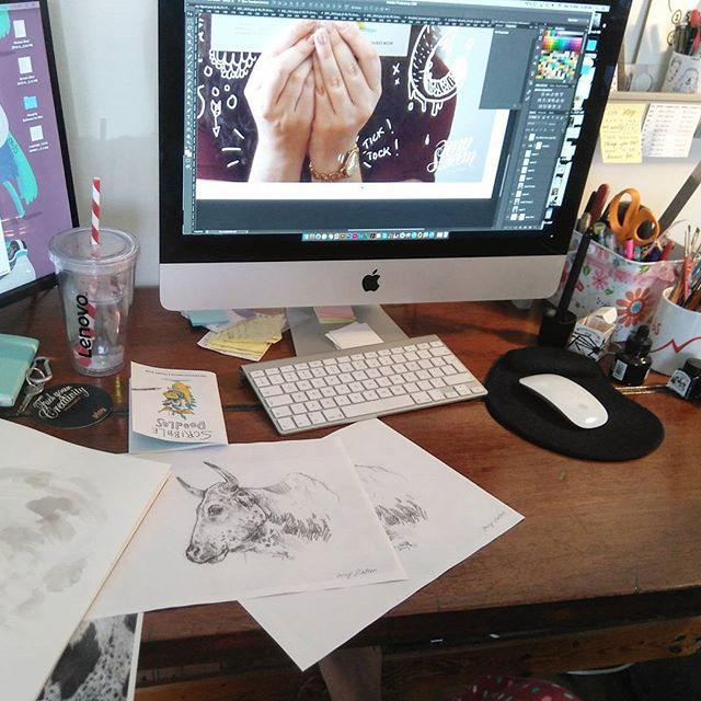 Playing major catch up on projects this weekend. Time to be productive. #longweekend #illustration #work #productivity #drawing #blog #design #cow #artaims #workspace #studio #desk