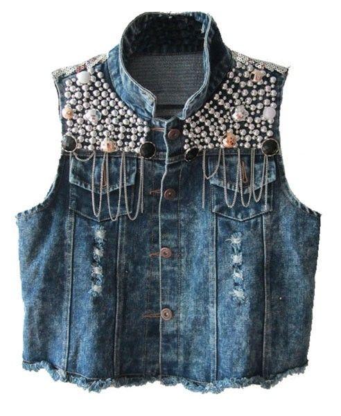 Dark Blue Washed Denim Vest with Paillette Embellishment