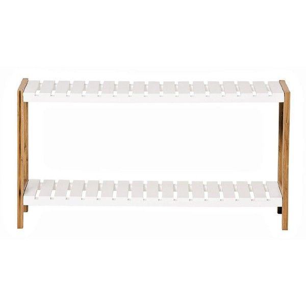 Living Co Bamboo Shoe Rack 2 Tier (18 CAD) ❤ liked on Polyvore featuring home, home decor, small item storage, two tier shoe rack, white home decor, white shoe rack, 2 tier shoe rack and bamboo home decor