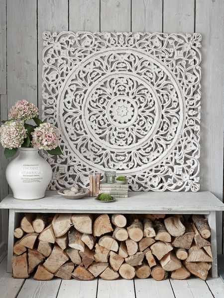 Carved Wall Panels - Design 1 XL, Nordic House, 112 by 112cm, £180, there are smaller designs about 91cm square. Dont know where to use them but they are beautiful