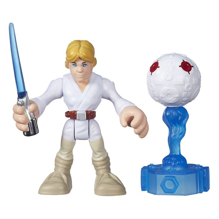 Playskool Heroes Galactic Heroes Star Wars Luke Skywalker. Sized right for smaller hands. Practice with Jedi training remote. Twist figure to swing lightsaber. Includes figure and training remote. Ages 3 to 7.