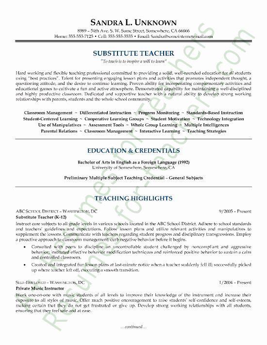 Substitute Teacher Resume Job Description Awesome Substitute Teacher Business Card Teacher Resume Examples Teacher Resume Template Free Teacher Resume Template