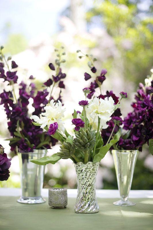 Purple + White Floral Centerpiece Inspiration For Spring Wedding   Eggplant Wedding  Ideas