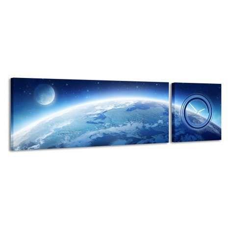 Zegar - obraz 4MyArt Earth and Moon 158 x 46 ◾ ◾ PrezentBox