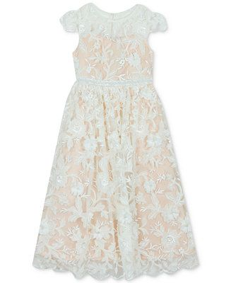 f7d6cb4a9af4 Rare Editions Toddler Girls Floral Illusion Gown - White 2T