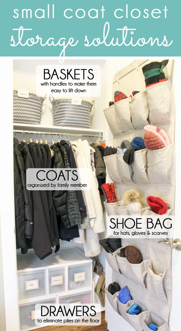 HOW TO ORGANIZE A SMALL COAT CLOSET. Coat closets are challenging, but these coat closet storage solutions will allow you fit in all your jackets, hats, gloves, scarves, and even extras like water bottles and backpacks. Get tips for shoes and boots, too!