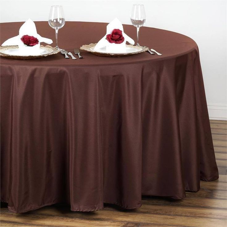 """108"""" CHOCOLATE Wholesale Polyester Round Tablecloth For Wedding Banquet Restaurant"""