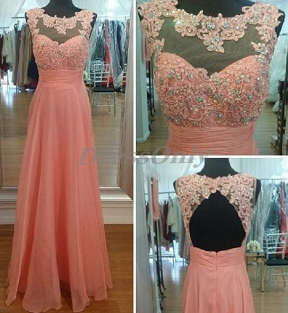 Charming Prom Dress Jewel Sexy Open Back Long Coral by DressOnly, $119.00