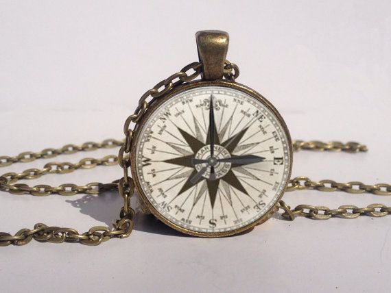 Marine Compass Necklace, Compass Jewelry, Compass Art Pendant, Compass Charm [A1286]