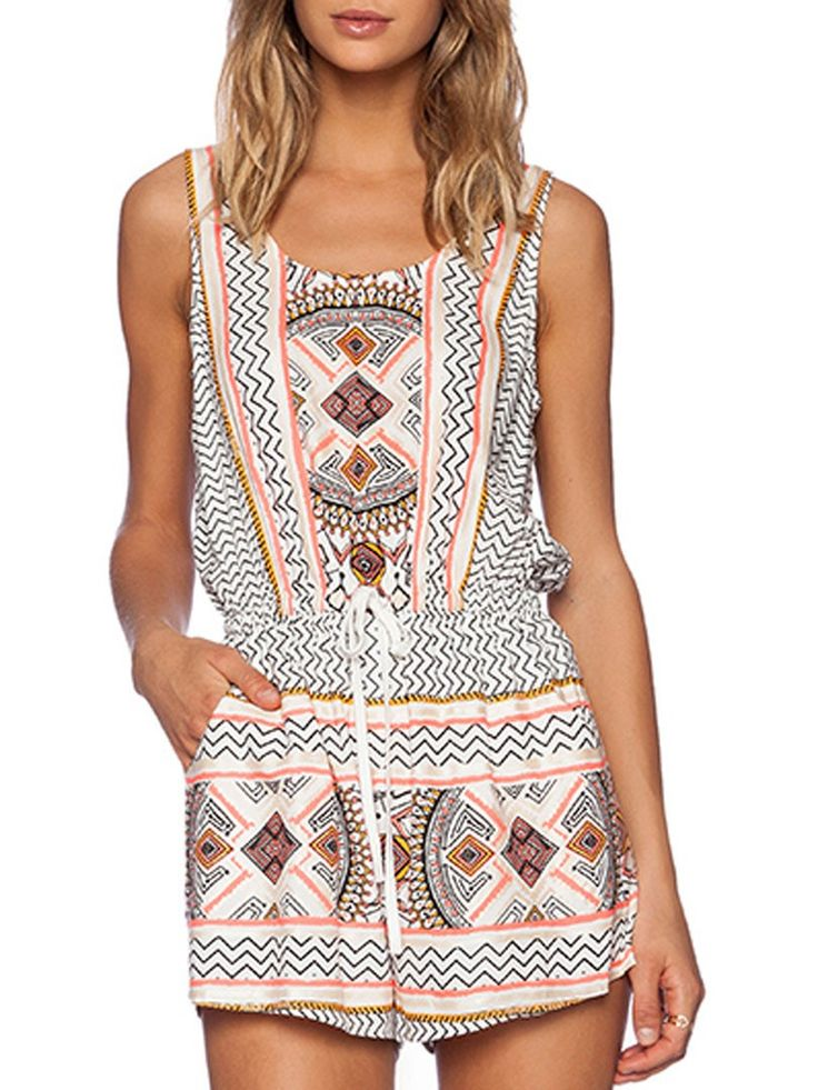 White,Tribe Print,Drawstring Waist,Romper,Playsuit,National Style,Ethnic