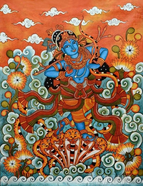Buy Fine art painting Kaliya mardanam Mural