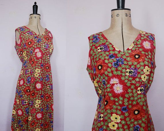 Vintage 1990s pansy floral maxi dress 1990s grunge dress