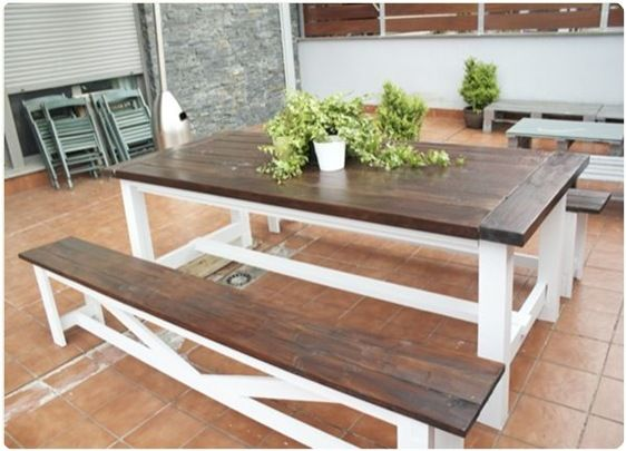 **I like the dark stain with the white** diy-table-and-bench