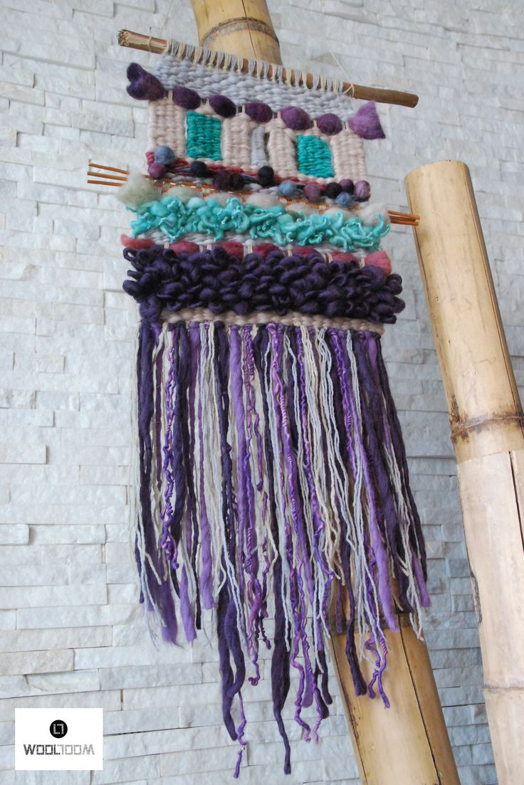 Pastels and aqua - Hand woven wall hanging // weaving // telar decorativo made by WooL LooM