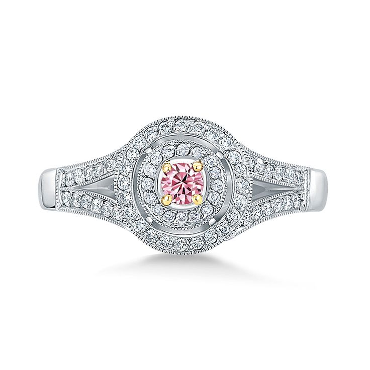 Pink Argyle Double Halo Ring