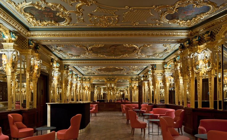 """Oscar Wilde Bar at Hotel Cafe Royal (Regent St, London, UK) : Jackets for men, although tie is optional.  """"...exquisitely restored to its original Louis XVI detailing and is the place to enjoy Champagne, cocktails and a light menu featuring dishes such as warm grilled angus fillet and cured sea scallops...."""" ~ RegentStreetOnline"""