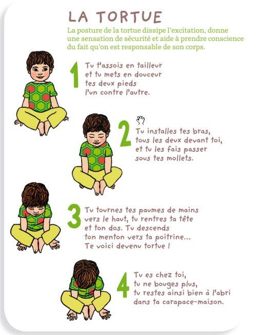 Yoga des petits : posture de la tortue, pour dissiper l'excitation, donner une…