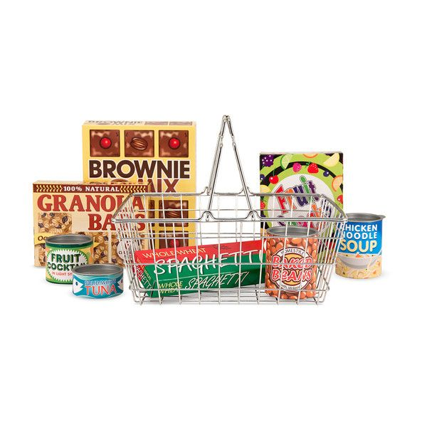 This shopping basket and food set by Melissa & Doug is packed with fun. Play food cans feature plastic pop-off lids to enhance creative play Realistic wire grocery basket toy Sturdy handles fold flat