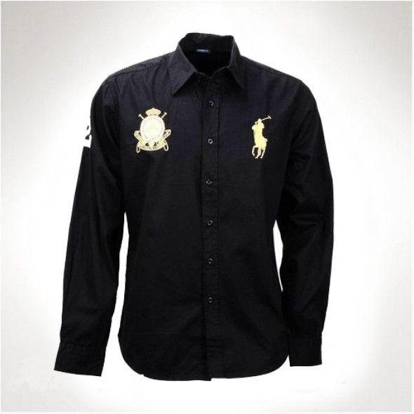 Ralph Lauren Big Pony Men Long Sleeved Shirts Black http://www.ralph